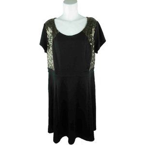 NY Collection Plus Sequins Geometric A-Line Dress